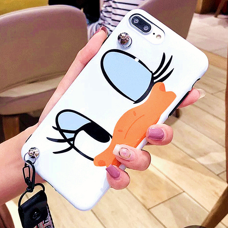 Cute Cartoon Lanyard crossbody Phone Case For iphone Xs Max Xr X 7 8 6 Plus Soft Silicon TPU cover Phone Bag Shoulder Strap case