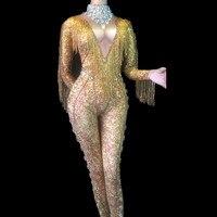 Women Nightclub Birthday Party Wear Dancer Singer Bling Costumes Sexy Stage Gold Tassel Big Glass Sparkling Crystals Bodysuit