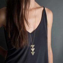 fd22d7227abf 2018 New fashion Women Gold Chain Choker triangle Long Necklace Jewelry  collana Bijoux Femme Joyas mujer
