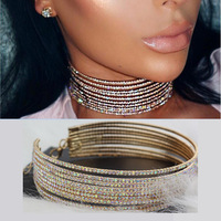 Multilayer Rhinestone Choker Crystal Statement Necklace 2017 Big Luxury Chokers Necklace Women Maxi Jewellery Collier