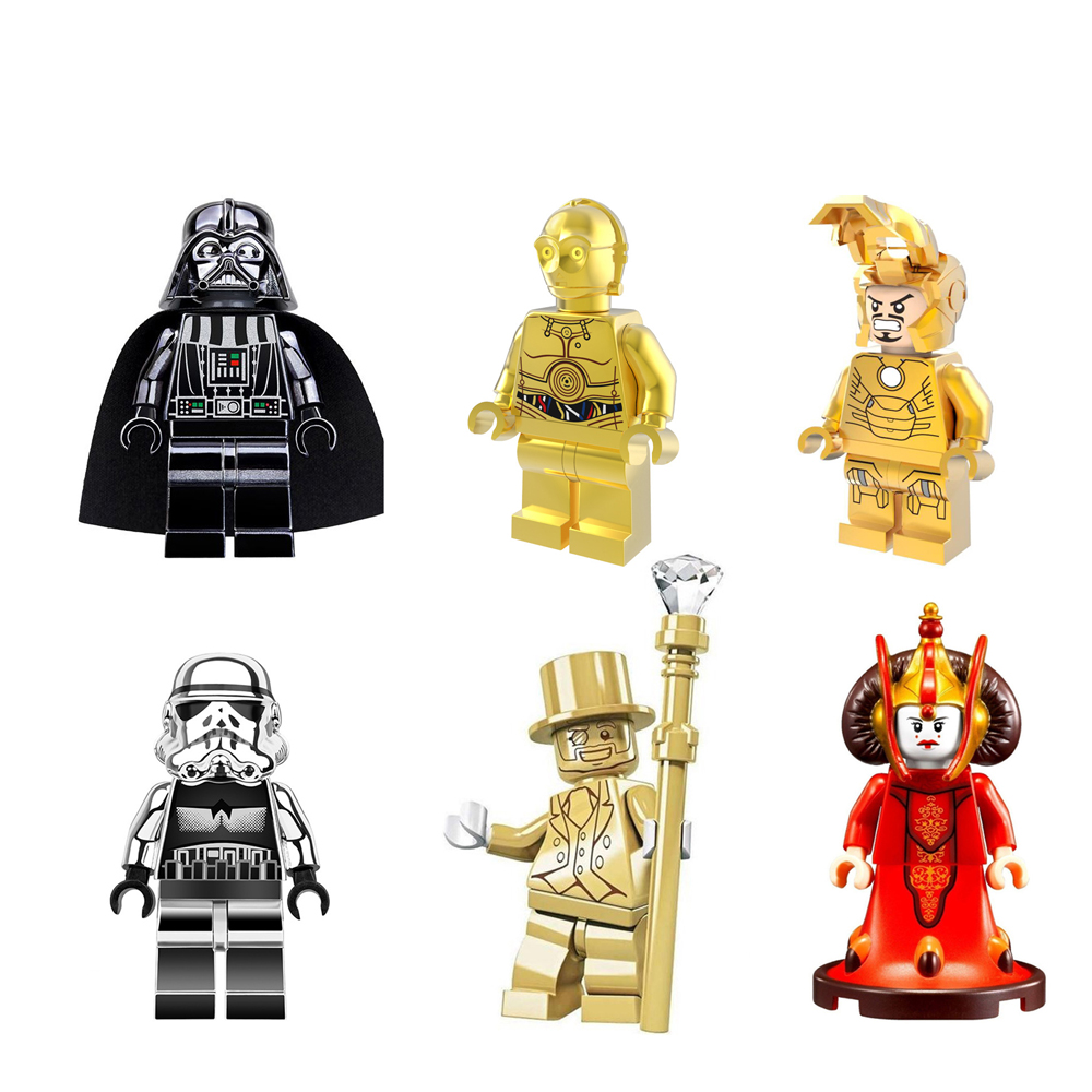 M. Or Chiffres Unique Vente Chrom C3PO Deadpool Stormtrooper Iron Man Darth Vader D'or Blocs de Construction Modèles Briques Jouets