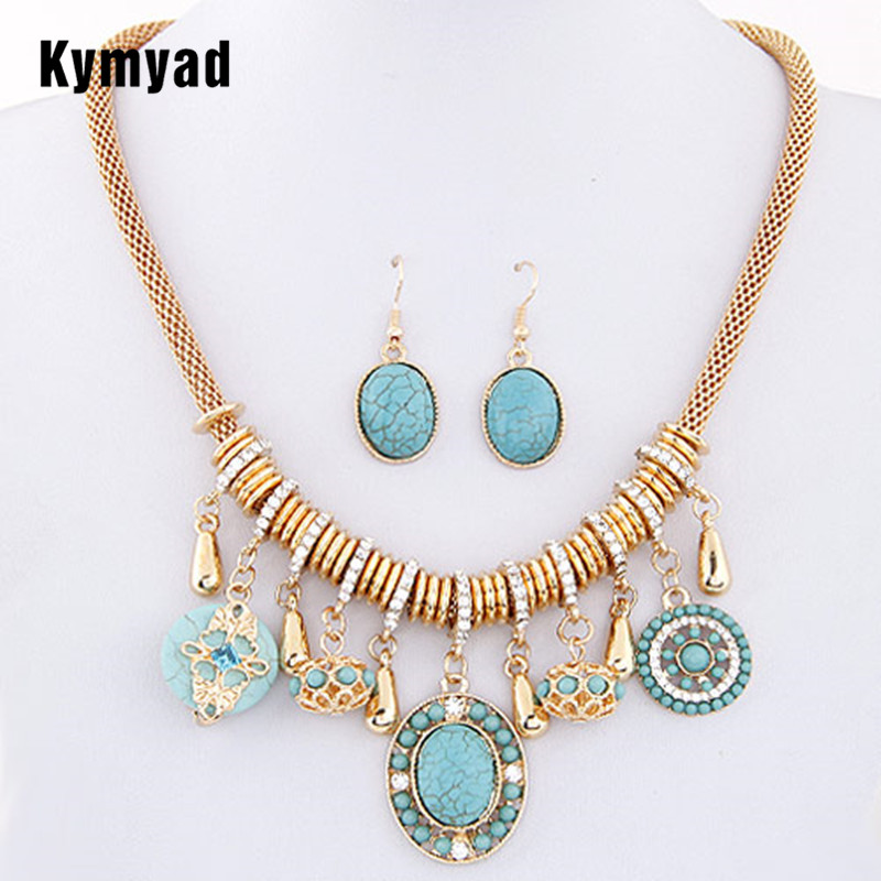 Kymyad Fashion Vintage Costume Jewelry Red/Blue Bohemian Resin Stone Women Jewelry Sets Necklace Earring Sets For Women Bijoux