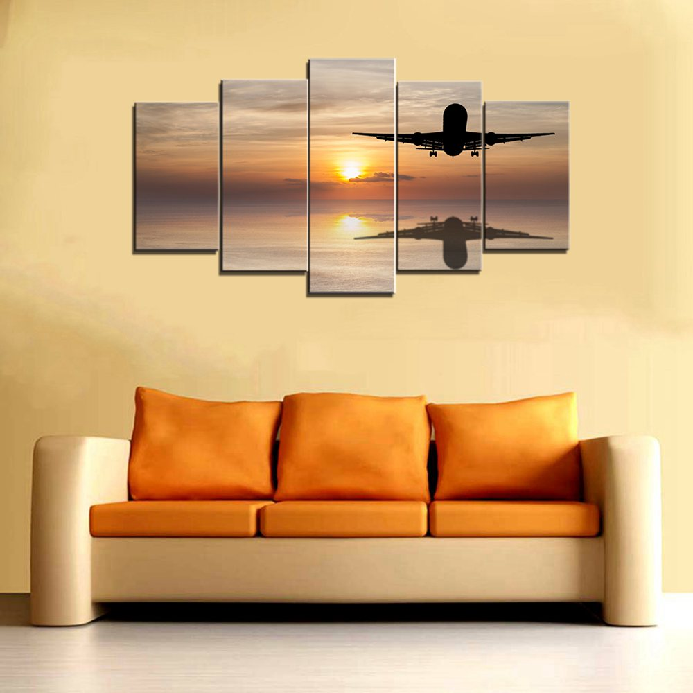 Airplane Sunset Landscape Seascape Canvas Painting For Living Room ...