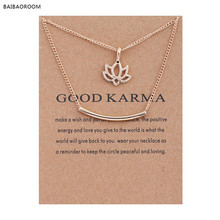 Golden Plated Good Karma Marble Lotus Double Layer Alloy Clavicle Bone Pendant Short Necklace