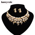 indian jewelry 2016 High-grade Brands  gold plated Simulated-pearl flower jewelry sets wedding Banquet Necklace Earrings Sets