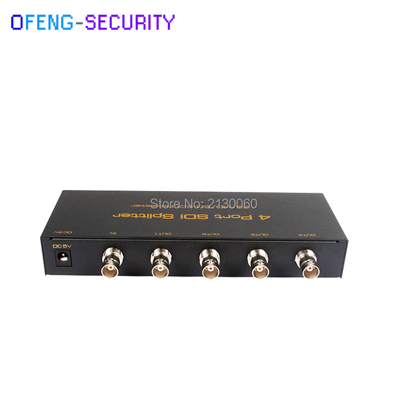 SDI Splitter 1x4, SD/HD/3G-SDI Repetidor, Distribuidor SDI, apoio 1080 p Ampla Voltage5-12V