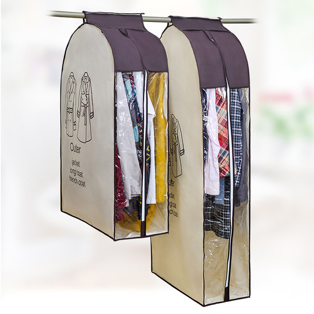 Pick Non-woven Fabric Hanging Dust-proof Clothes Cover Suit Dress Soft Storage Garment Bags