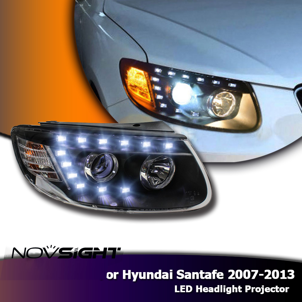 NOVSIGHT 2X LED Projector Headlights Fog Light Bi Xenon Lens For Hyundai Santa Fe 07-13 Car Light Assembly headlamps for santa fe 2006 2010 headlamp with bi xenon projector v1headlights
