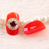 Press on Recycle False Acylic tangerine color nail tips with wine red crystal