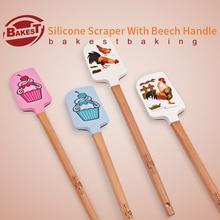 BAKEST 2 unids por lote Pastel Pastelería Espátulas Raspadores De Silicona Con Mango De Madera Encantadora Cuatro Tipos De Selección