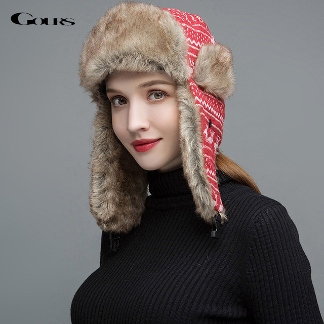 Gours Women Fur Hats Winter Thick Warm Ears Faux Fur Russian Ushanka Hat  Fashion Knitted Bomber Caps Reindeer New Arrival GLH031 15d9b788fa4