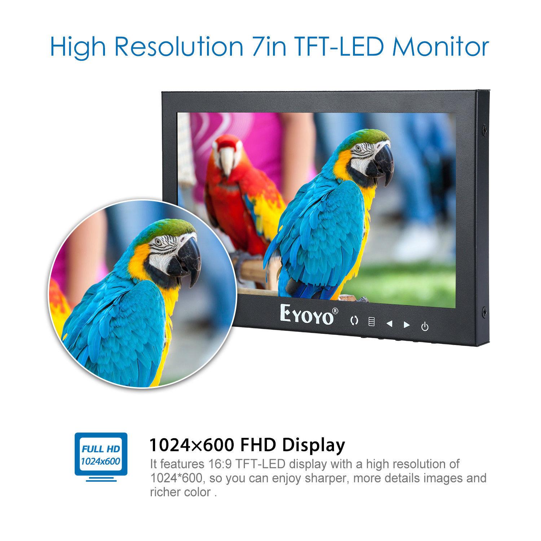 """EYOYO 7"""" High Brightness LCD Monitor FHD TFT LCD Screen 75degree HDMI BNC VGA AV Video For CCTV PC DVD DVR Security Camera TV"""