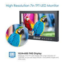 "EYOYO 7"" Excessive Brightness LCD Monitor FHD TFT LCD Display 75diploma HDMI BNC VGA AV Video For CCTV PC DVD DVR Safety Digital camera TV"