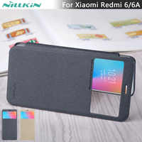 For Xiaomi Redmi 6/6A case cover NILLKIN Sparkle PU leather flip cover view window for Xiaomi Redmi 6/6A case cover