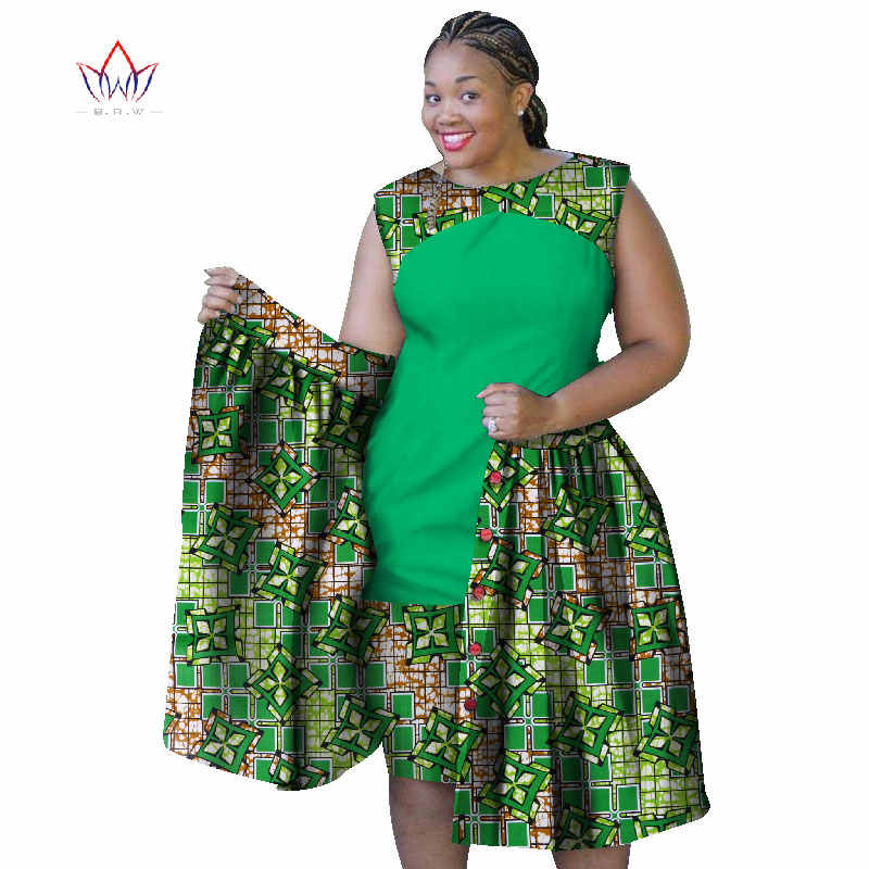 2019 summer african dresses for women Plus Size Women sleeveless cotton  Dress o-neck 6XL africa print clothing natural WY1069