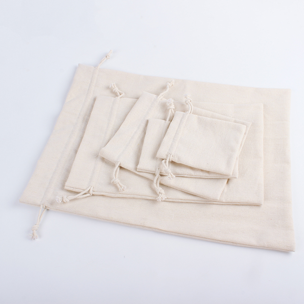 Reusable Linen Drawstring Shopping Bag Women Men Travel Shopper Tote Storage Bags