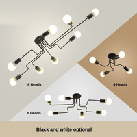 Vintage Ceiling Lights for Home Lighting Luminaire Multiple Rod Wrought Iron Ceiling Lamp E27 Bulb Living Room 4 6 8 Heads