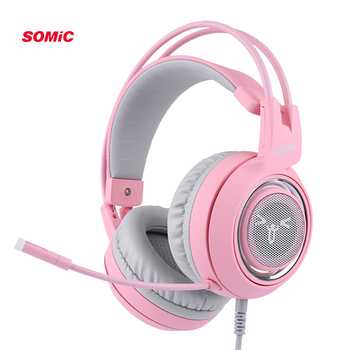 SOMIC G951 Pink Cat Headphones Virtual 7.1 Noise Cancelling Gaming Headphone Vibration LED USB Headset kids Girl Headsets for PC 2