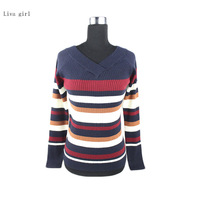 Liva Girl High Quality Knitted Sweaters 2017 Autumn Women Striped Patchwork O Neck Skinny Long Sleeve
