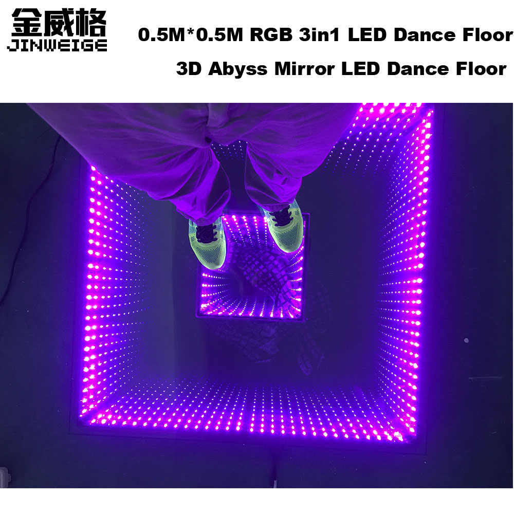 Free Shipping 12pcs/Lot 0.5M*0.5M 3D Abyss Led Mirror Infinite Time Tunnel Dance Floor Stage Led Disco Lights 3d Dance Floor