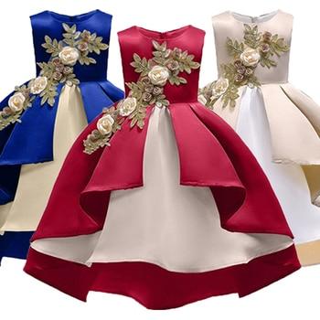 8e93f083b Los niños vestidos de fiesta y vestidos de boda patrón Floral elegante  princesa vestido bebé niña