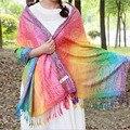 DreamShining Rainbow Lenços Jacquard Inverno Cachecol Mulheres Estilo Étnico Floral Impressão Xales Senhoras Coloridas Longas Pashminas
