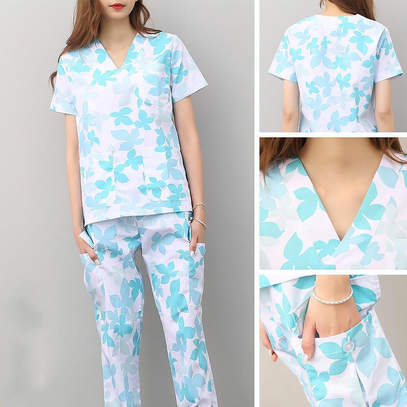 Laundry suit split short sleeve Yuesao service nurse dress up female dentist oral cotton Korean uniform brush hand coat