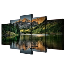 5 Pieces Canvas Art Colorado Ozero Mountain Decor Oil Painting