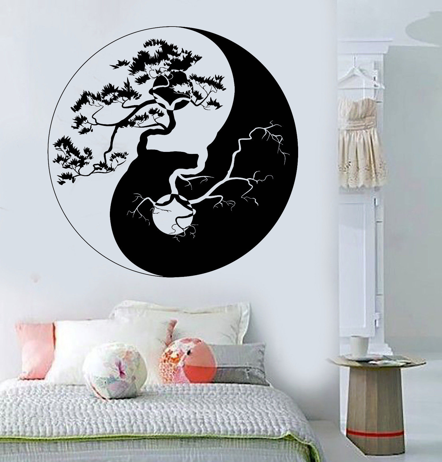 hwhd vinyl wall decal yin yang tree zen asian style