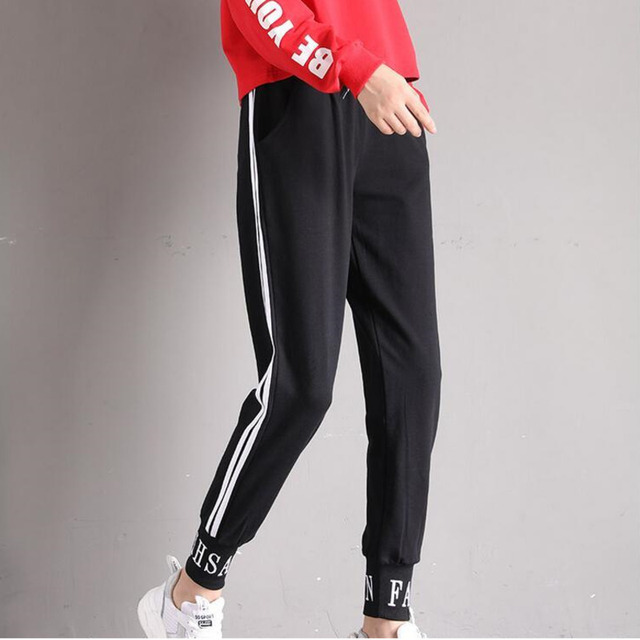 #0840 Autumn Track Pants Women Student Korean Fashion Pencil Trousers Side White Striped Pants Hip Hop Harajuku Thin Joggers