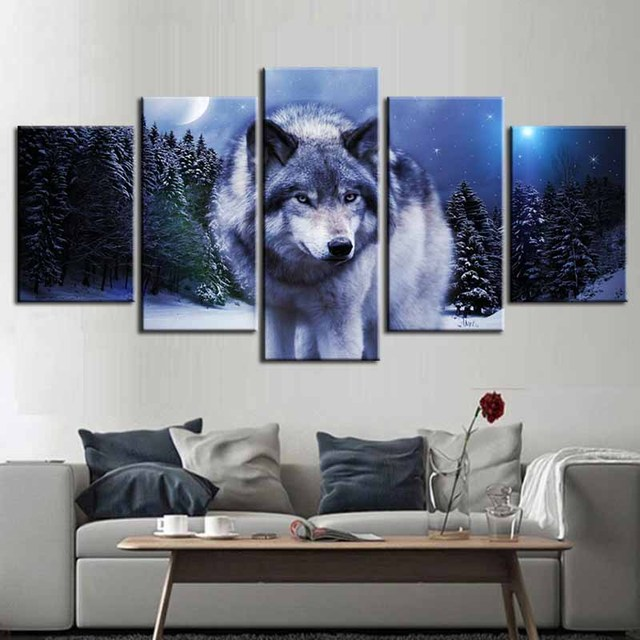 Aliexpress Com Buy Modern Black And White Wolf Prints Painting