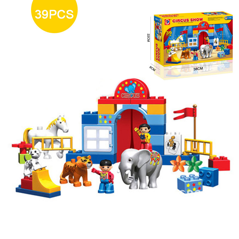 Large Size Circus Show Model Bricks Animal Paradise Building Blocks Kids Educational Toy Compatible With Duplo large particles castle empire duplo building blocks prince figures large size bricks diy toy for kids gift compatible duplo