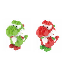 Funny micro diamond building block nintendoes game image super mario bros Yoshi dinosaur nanoblock assemble toys for kids gifts(China)