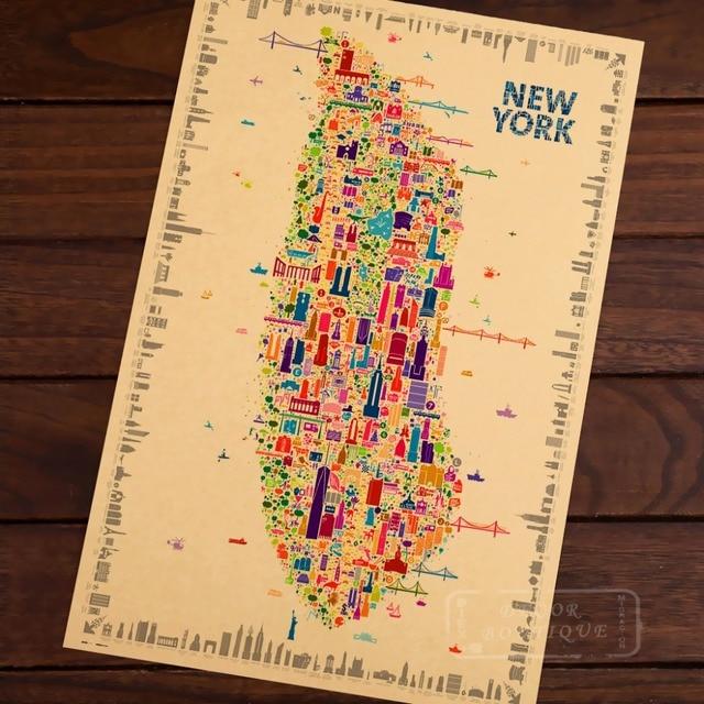 Pop Map New York Landmarks Building Classic Vintage Retro Kraft