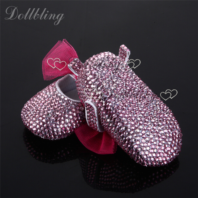 Christams Bling Little Girl  Pink Rhinestones Custom handmade crystal baby shoes 0-1Y Newborn Fancy First Walkers Free Shipping