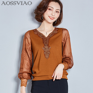 2019 Womens Tops And Blouses Clothing Long Sleeve Mesh Lace Blouse Femme Blusas Femininas Ropa Mujer Black Red Khaki