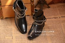 Classic Chain Leather Boots for BJD 1 3 SD17 Uncle Big Foot Uncle Doll Shoes SM1