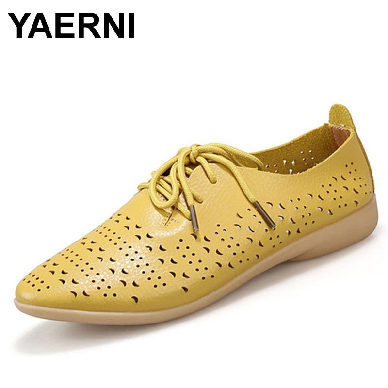 YAERNI 2017 Spring Summer Women Genuine   Leather   Shoes Woman Breathable Soft Bottom Creepers Casual Flat Shoes