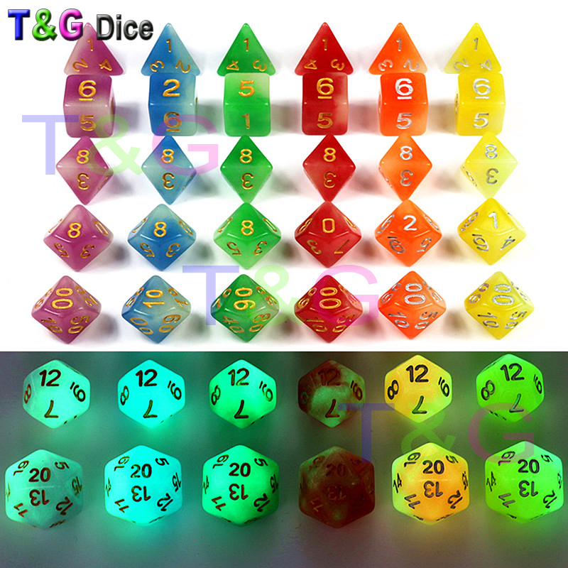 Mix-Colour 7pc/lot Glow in the dark RPG Dice for D&D,D4,d6,d8,d10,d10%,d12,d20 Purple, Blue, Green,Red,Orange,Yellow Board Game glow in the dark protective pc back case for iphone 6 4 7 transparent purple