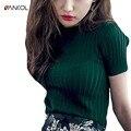 Vancol 2017 новое прибытие весна зеленый трикотажные женские футболки топ тонкий лето o шеи основные топы & t с коротким рукавом женщины футболку