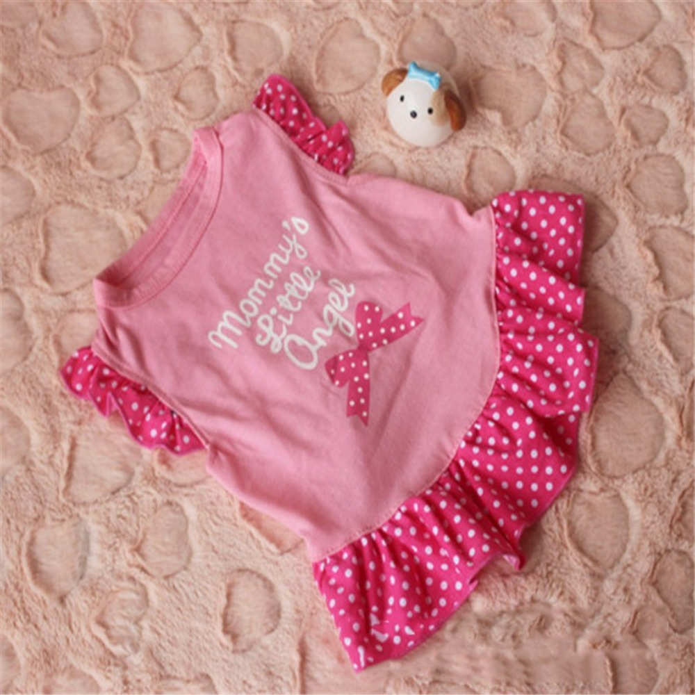 Summer Fashion Cute Pet Dog Clothes Fly Sleeve Dress Patchwork Skirt Cotton Blend Princess Dress Party Costume Apparel