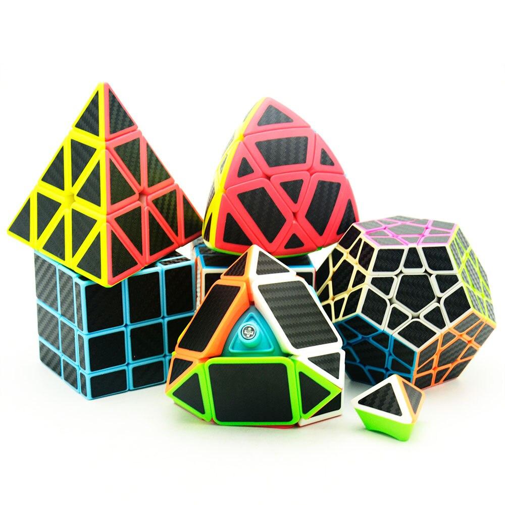6 pièces/ensemble Lefun Magique Cube Mastermorphix + SQ-1 + Megamin + Miroir Bloc + Pyramin + Biais Noir autocollant Rubiks Cube - 2