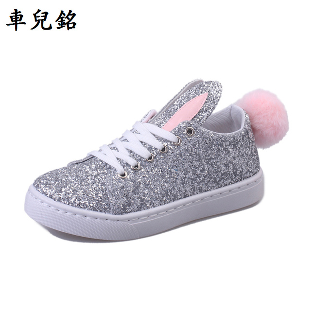 257106240980 white shoes Women spring autumn flat Rabbit ears fur tail loafers bling  street rihanna casual shoes lace up celebrity cross tie