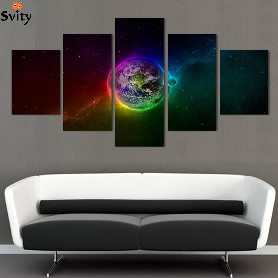 Buy 5 piece canvas painting wall art for Wall decor outer space