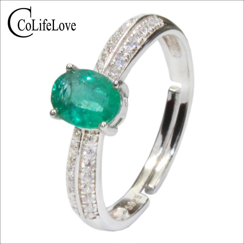 Bijoux CoLife bague en argent émeraude pour fiançailles 0.5ct vert profond bague en argent émeraude naturelle 925 argent zambie bijoux émeraude