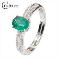 CoLife Jewelry Silver Emerald Ring for Engagement 0.5ct Deep Green Natural Emerald Silver Ring 925 Silver Zambia Emerald Jewelry