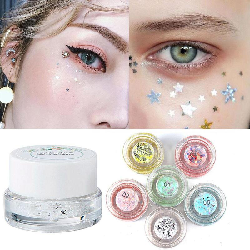 Eye Shadow 1 Bottle Mermaid Sequins Gel Glitter Eyeshadow Makeup Cosmetic Mixed Paillette For Face Body Hair Nshopping Beauty & Health