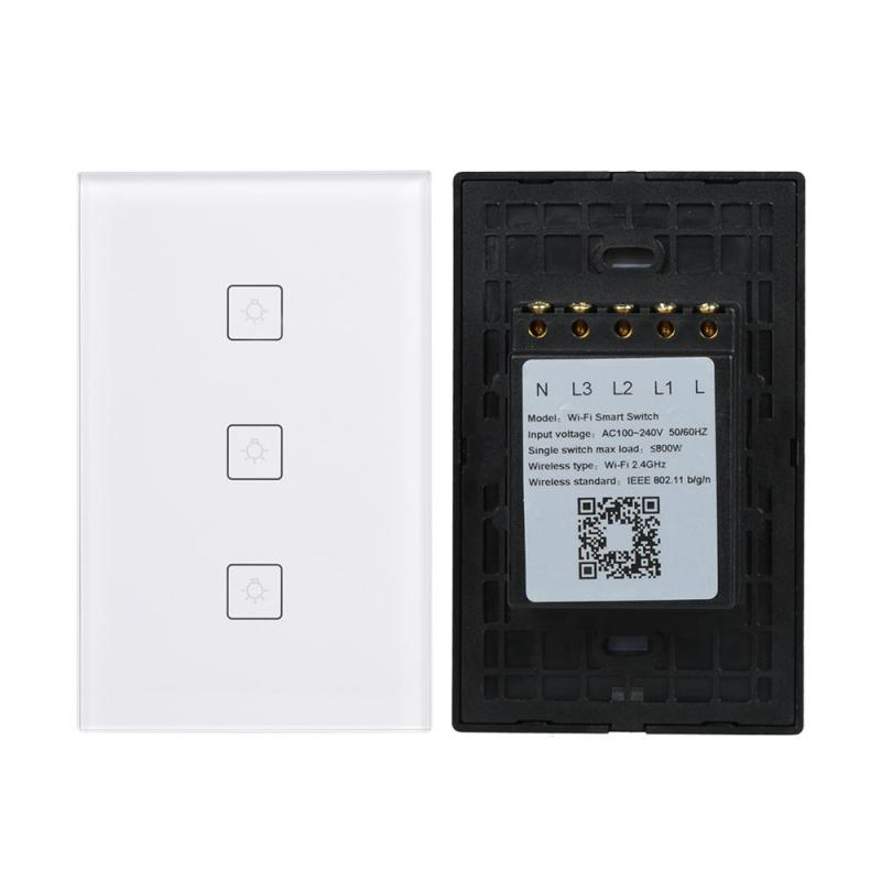 QIACHIP 220V WiFi Smart Home Switch 3 Gang 86 Type Glass touch Panel APP Wireless remote control wall light switch US Plug H2 smart home us black 1 gang touch switch screen wireless remote control wall light touch switch control with crystal glass panel