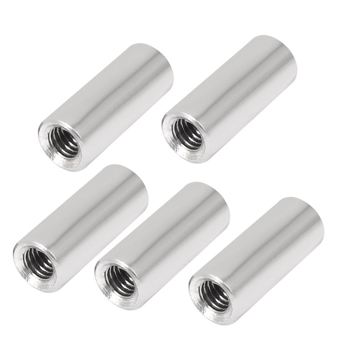5Pcs Nuts M6/0.24 Round Coupling Connector Nuts Round Rod Bar Stud Threaded Insert Rose Joint Adapter Threaded Connectors Nuts