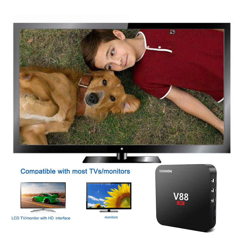 V88 RK3229 Quad Core 1 gb 2g di RAM 8 gb di ROM Astuto di Android 6.0 TV Box 16.1 4 k lettore multimediale 2.4g WiFi H.265 MINI PC